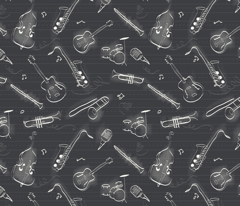 Old School Jazz fabric by jenniferbirch on Spoonflower - custom fabric