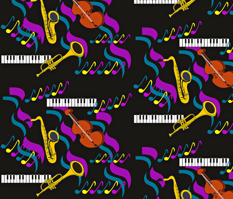 New Orleans Jazz Band fabric by vanillabeandesigns on Spoonflower - custom fabric
