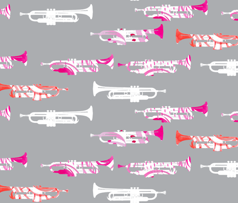 Jazzy Trumpets fabric by emilysanford on Spoonflower - custom fabric