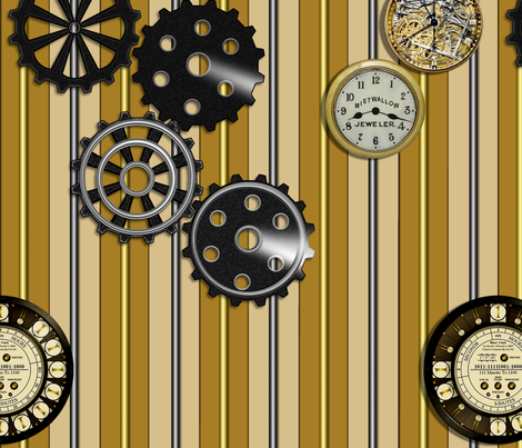 Gears and Clocks on Striped Background in Black and Copper colors fabric by peace_mistwallow on Spoonflower - custom fabric