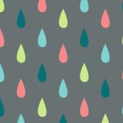 Large Colourful Raindrops on Grey
