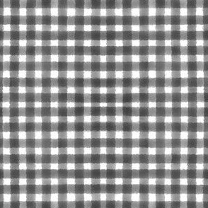 Watercolour Gingham Black on White