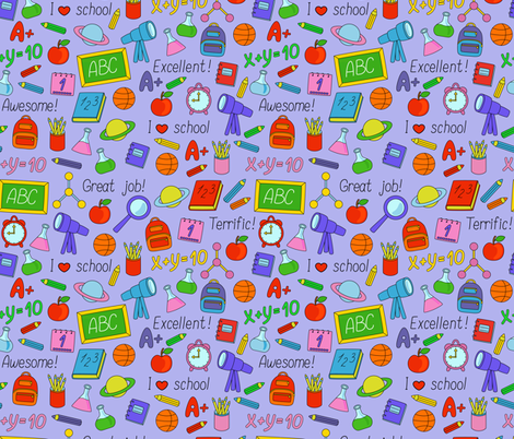 Back to School pattern fabric by alenkas on Spoonflower - custom fabric