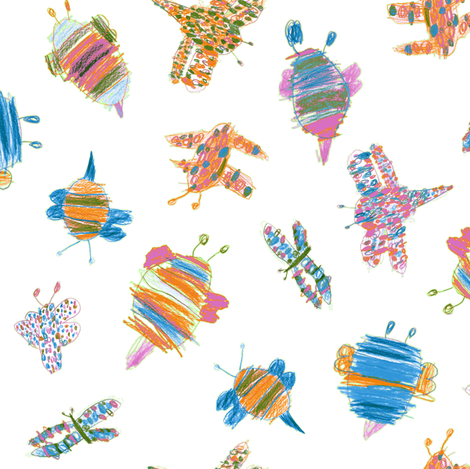 Bubbie-bugs in Butterfly colors fabric by weavingmajor on Spoonflower - custom fabric