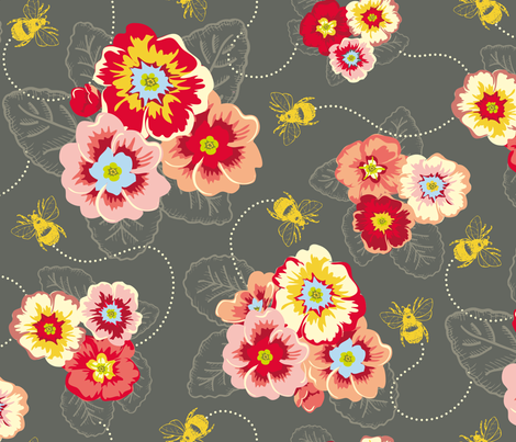 busy bees grey fabric by spaldilocks on Spoonflower - custom fabric