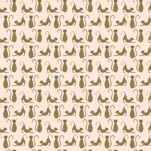 Pussycat print, light pink and brown.