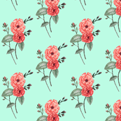 Roses, Watercolor Mint Coral