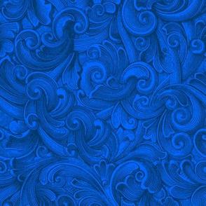 Engraved Swirls 6 Dk Blue