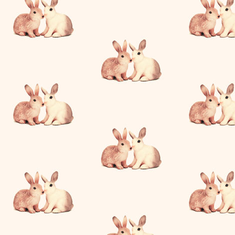 Bunnies in Love, Sweet Neutral fabric by thistleandfox on Spoonflower - custom fabric