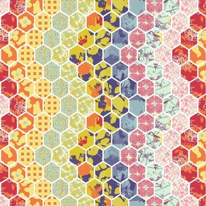 Vertical Floral Hex Cheater Quilt Chevrons small