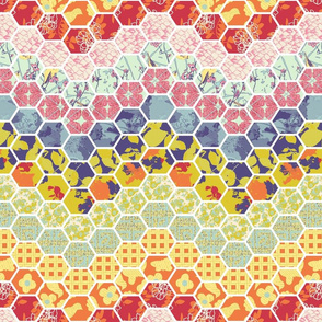 Horizontal Floral Hex Cheater Quilt Chevrons Small