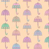 Rainy Day Umbrellas design in pastel colors V8