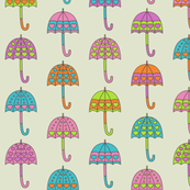 Rainy Day Umbrellas design in bright multi colors D2