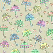 Rainy Day Umbrellas design in pastel colors V1