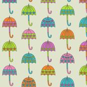 Rainy Day Umbrellas design in bright multi colors D4