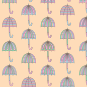 Rainy Day Umbrellas design in pastel colors V6