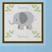Grey Elephant Blue/Brown Quilt Textured look-Personalized-ed