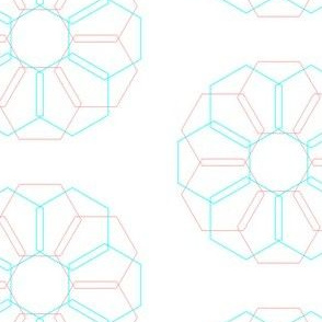 hexagon flower - coral/teal