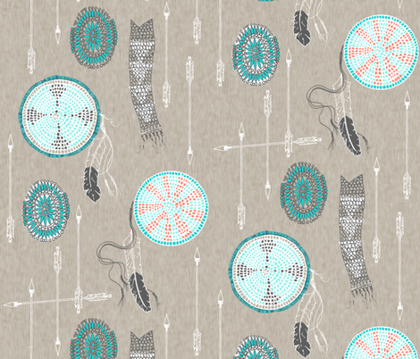 Turquoise + Coral  fabric by nouveau_bohemian on Spoonflower - custom fabric