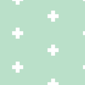 Swiss Cross White on Mint