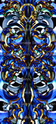 Abstract ornament in blue and gold