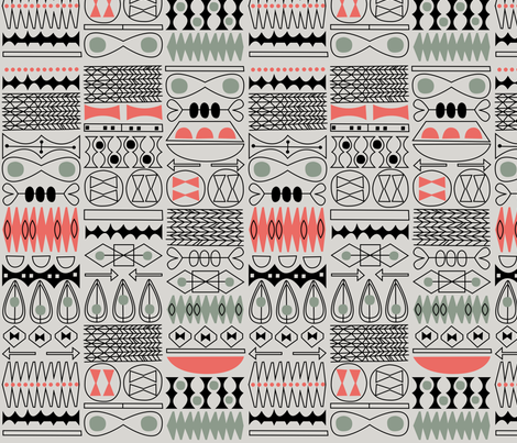 tiki tok 1 fabric by jennski on Spoonflower - custom fabric