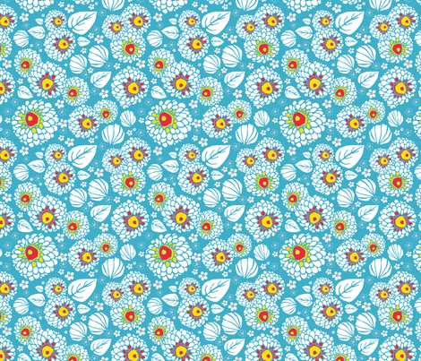 PomPom Flowers Blue fabric by louiseharris on Spoonflower - custom fabric