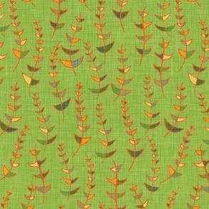 Retro Leaves on light green