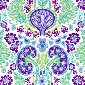 Kidney Damask Purple/Teal