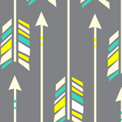 Large Arrows: Yellow and Teal on Gray