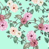 Pink Peach Roses on Mint, Wedding Dress Fabric