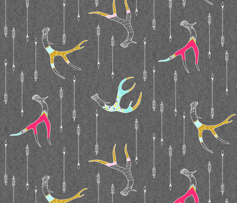 Painted Antlers (Ode to Cassandra Smith) MEDIUM (Original colourway) fabric by nouveau_bohemian on Spoonflower - custom fabric