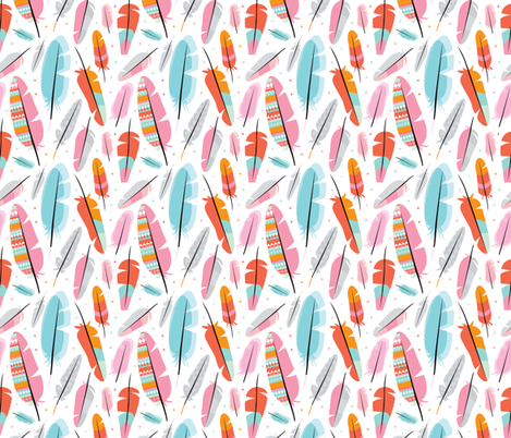 Geometric feathers and aztec details illustration pattern fabric by littlesmilemakers on Spoonflower - custom fabric