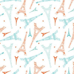 Paris love Eiffel Tower illustration in orange mint