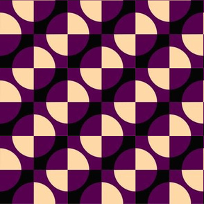 Harlequin circles and squares maroon
