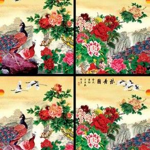 royal novelty thrones embroidery asian japanese china chinese oriental cheongsam kimono peacocks garden cranes birds sea imperial chinoiserie kings queens museum traditional rank regal korean kabuki geisha yuan ming qing dynasty tapestry vintage emperor e