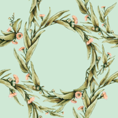 Gumleaf Rings in Muted Green and Peach Blossoms