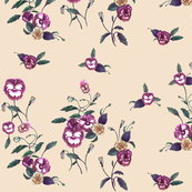 Pansies & Peonies in Purple, Indigo on Nude