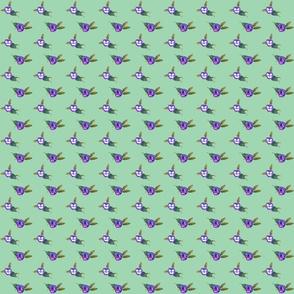 Peony Dot Purple on Green