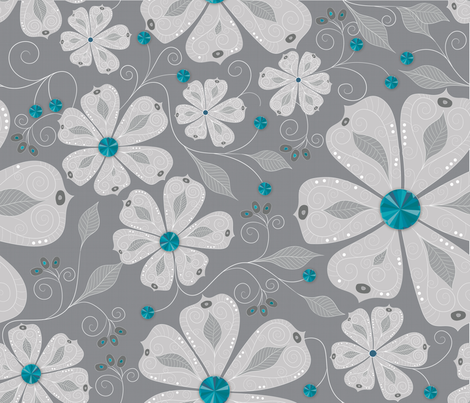Aquamarine Bling fabric by liluna on Spoonflower - custom fabric