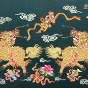 royal white novelty thrones embroidery asian japanese china chinese oriental cheongsam kimono unicorns kirin lotus mythical imperial chinoiserie kings queens museum traditional rank regal korean kabuki geisha yuan ming qing dynasty tapestry vintage empero