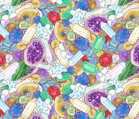 Gemstones and Geodes, watercoloured fabric by wiccked on Spoonflower - custom fabric