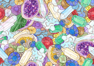 Gemstones and Geodes, watercoloured