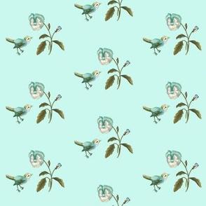 Bird & Pansy on seafoam
