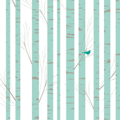 Birch Trees and Birds in Sage