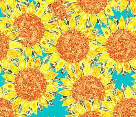sunflower field fabric by scrummy on Spoonflower - custom fabric