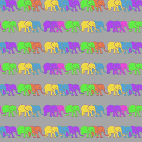 Elephant Buddies on Gray