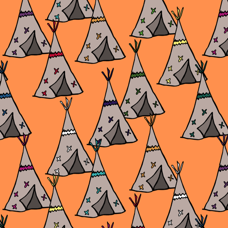 Teepee City Orange fabric by pond_ripple on Spoonflower - custom fabric