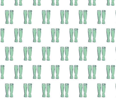 Rain Boots- Mint fabric by cassie_kulp on Spoonflower - custom fabric
