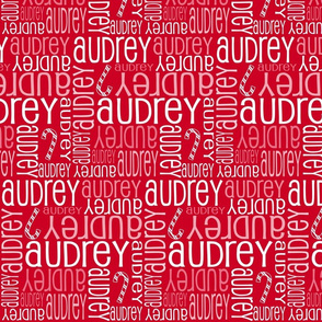 Personalised Name Fabric - Christmas Canes on Red
